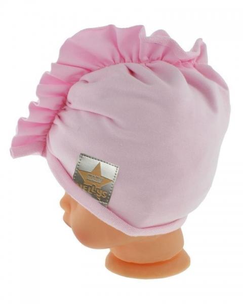 Baby Nellys Jarní/podzimní bavlněná čepice - turban, sv. růžová, obvod 44-48 cm