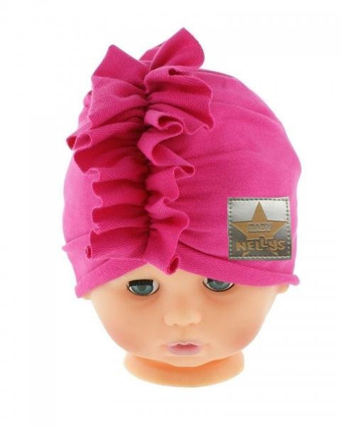 Baby Nellys Jarní/podzimní bavlněná čepice - turban, tm. růžová, Velikost: 40/42 čepičky obvod