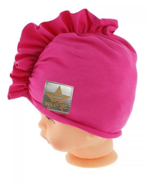 Baby Nellys Jarní/podzimní bavlněná čepice - turban, tm. růžová, vel. 80/86