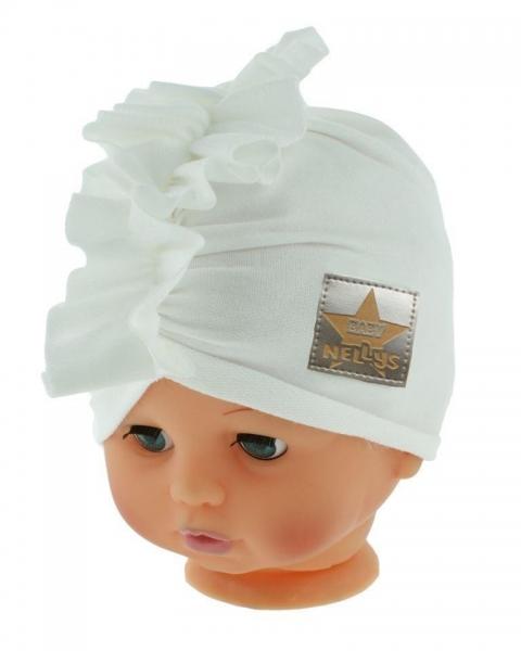 Baby Nellys Jarní/podzimní bavlněná čepice - turban, bílá, Velikost: 40/42 čepičky obvod