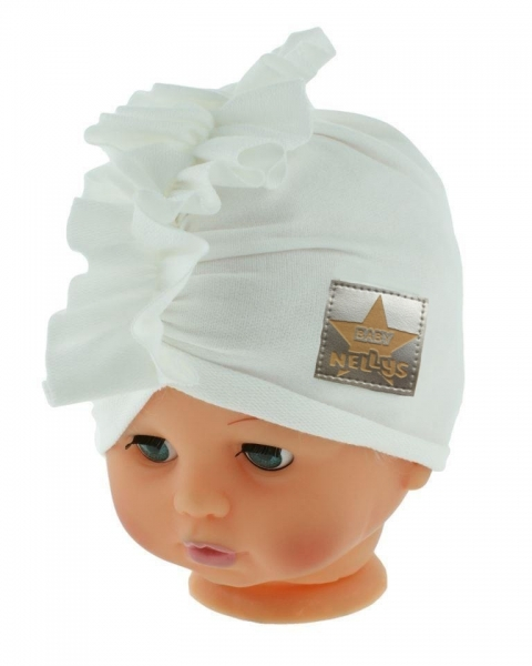 Baby Nellys Jarní/podzimní bavlněná čepice - turban, bílá, obvod: 44-48 cm, Velikost: 44/48 čepičky obvod