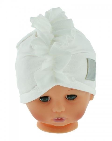 Baby Nellys Jarní/podzimní bavlněná čepice - turban, bílá, obvod: 44-48 cm