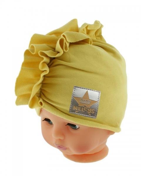 Baby Nellys Jarní/podzimní bavlněná čepice - turban, hořčicová, obvod: 44-48 cm, Velikost: 44/48 čepičky obvod