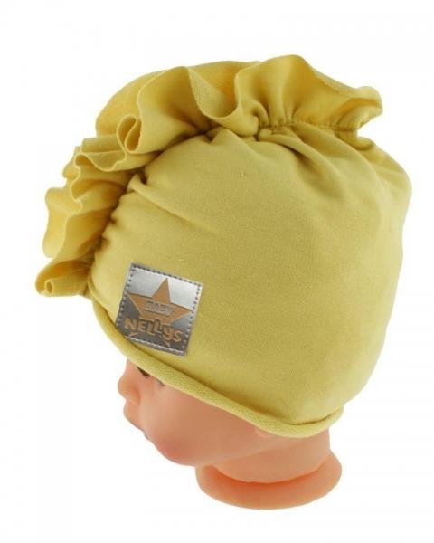 Baby Nellys Jarní/podzimní bavlněná čepice - turban, hořčicová, obvod: 44-48 cm