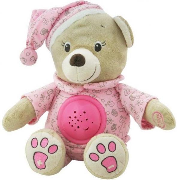 Plyšový medvídek s projektorem Baby Mix - růžový