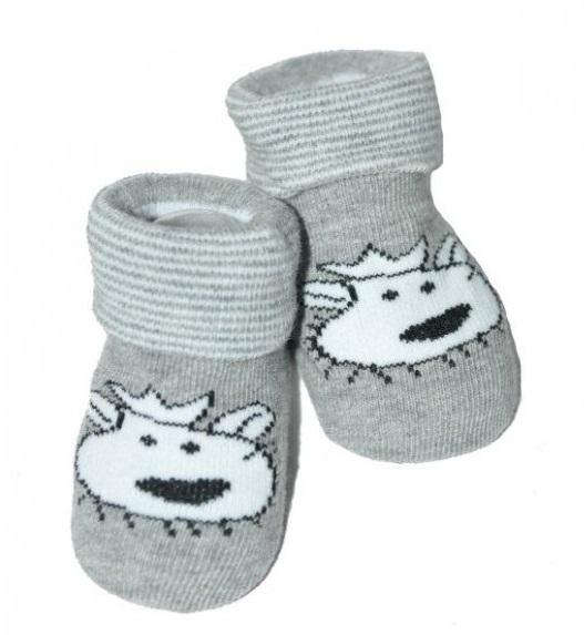 Kojenecké ponožky 12 - 24 m, Risocks protiskluzové - Lvíček, šedé