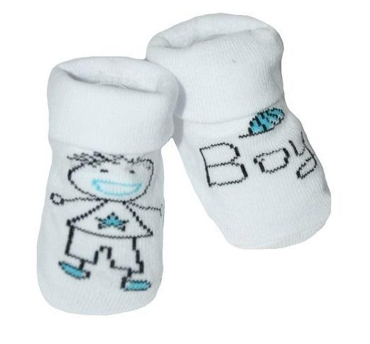Kojenecké ponožky Risocks protiskluzové - Baby Boy, bílo/modré, 12-24 m