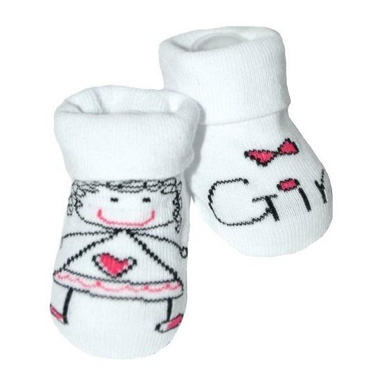 Kojenecké ponožky Risocks protiskluzové - Baby Girl, bílo/růžové, 12-24 m