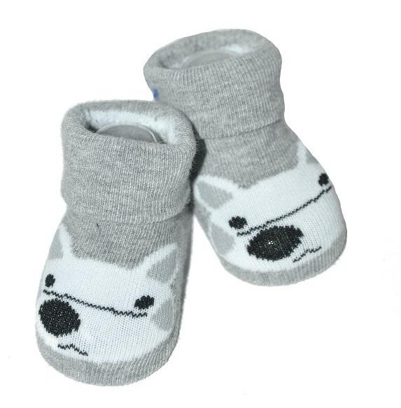 Kojenecké ponožky Risocks protiskluzové - Liška, šedé, 12-24 m