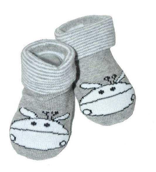 Kojenecké ponožky Risocks protiskluzové - Žirafka, šedé, 12-24 m