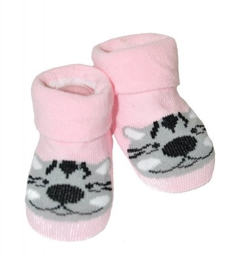 Kojenecké ponožky Risocks protiskluzové - Tygřík, růžové, 12-24 m