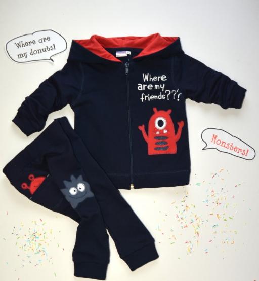 K-Baby Sada mikinka + tepláčky Best Friends - tm. modrá/červená