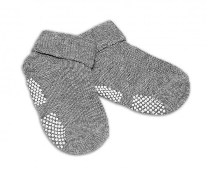 Kojenecké ponožky, 0-12 m, Risocks protiskluzové - šedé