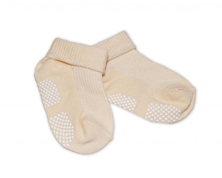 Kojenecké ponožky Risocks protiskluzové - béžové, 12-24 m