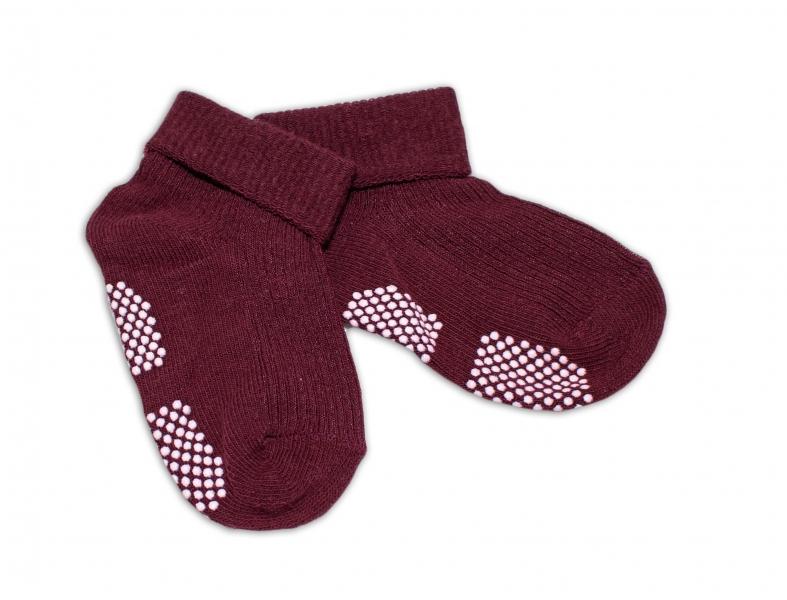 Kojenecké ponožky Risocks protiskluzové - bordo, 12-24 m