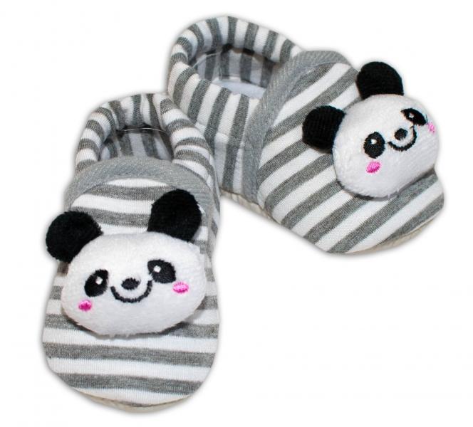 Botičky/capáčky Risocks Panda - proužek šedý
