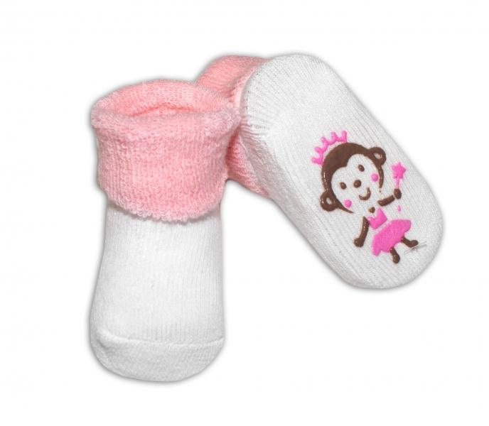 Kojenecké ponožky 0-6m, Risocks různé motivy - sv. růžová