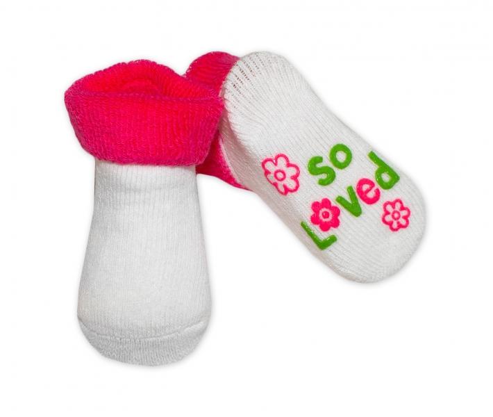 Kojenecké ponožky 0-6m, Risocks různé motivy - tm. růžová