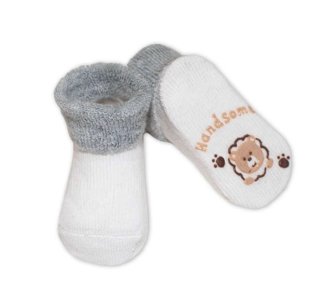 Kojenecké ponožky 0-6m, Risocks různé motivy - šedá