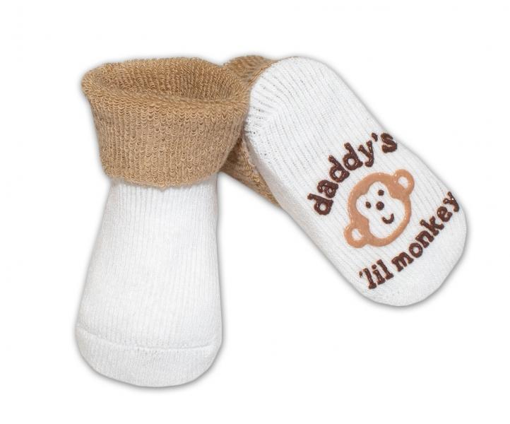 Kojenecké ponožky 0-6m, Risocks různé motivy - sv. hnědá