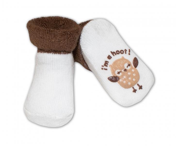 Kojenecké ponožky 0-6m, Risocks různé motivy - tm. hnědá