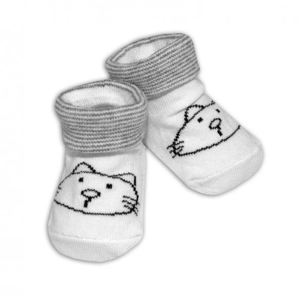Kojenecké ponožky Risocks protiskluzové - Kočička, bílo/šedé, 12-24 m