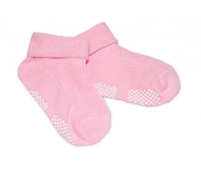 Kojenecké ponožky, 0-12 m, Risocks protiskluzové - sv. růžové