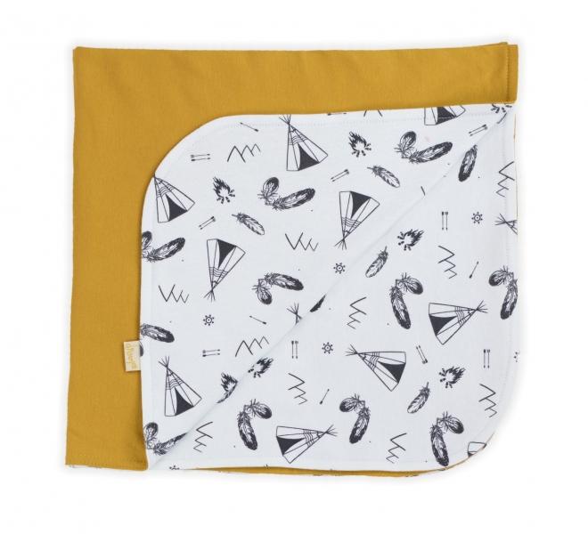 Dětská deka, dečka Nicol Indián - bílá/hořčicová
