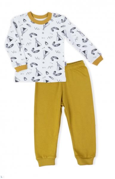 Kojenecké pyžamo Nicol, Indián - bílo/hořčicové