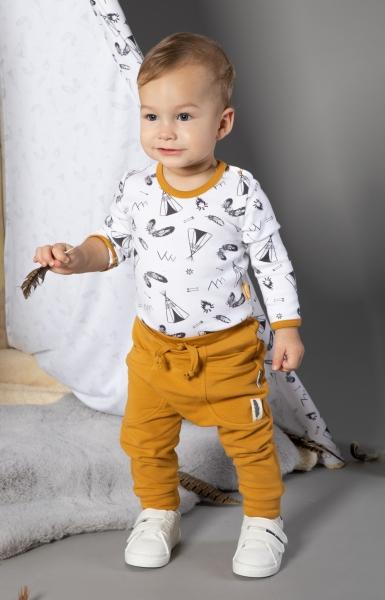 Dětské pyžamo Nicol, Indián - bílo/hořčicové, vel. 104