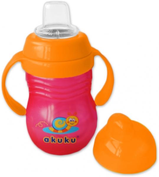Sportovní hrneček s úchyty - oranžový s čevenou