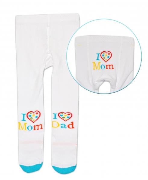 Bavlněné punčocháče Baby Nellys ® - I love Mom, I love Dad - bílé, 92/98, Velikost: 92/98