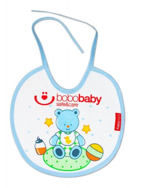Nepromokavý froté bryndáček BOBO BABY - medvídek, modrý lem