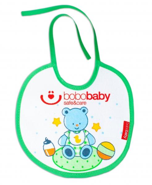 Nepromokavý froté bryndáček BOBO BABY - medvídek, zelený lem