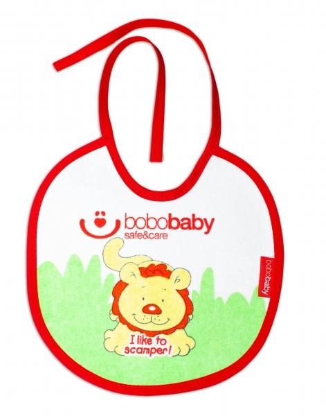 Nepromokavý froté bryndáček BOBO BABY - Lvíček, červený lem