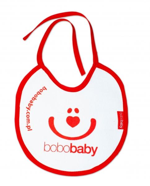 Nepromokavý froté bryndáček BOBO BABY - Smajlík, bílý/červený lem