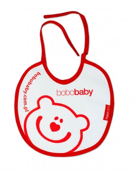 Nepromokavý froté bryndáček BOBO BABY - Méďa, bílý/červený lem