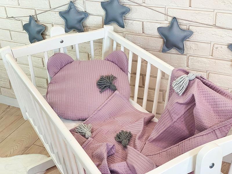 Baby Nellys Dětská vaflová 2 dílná sada Medvídek - pastelově růžová