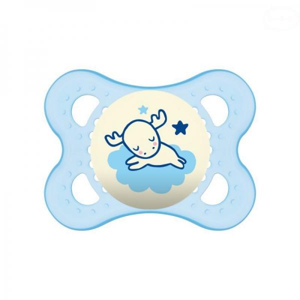 Symetrický dudlík Mam Night Boy, svítící - Sobík modrý