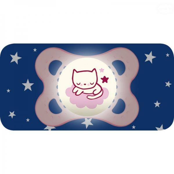 Symetrický dudlík Mam Night Girl, svítící - Kočička, růžová