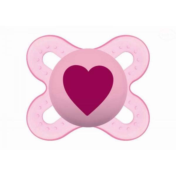 Symetrický dudlík Mam Start Girl - Srdíčko, růžový