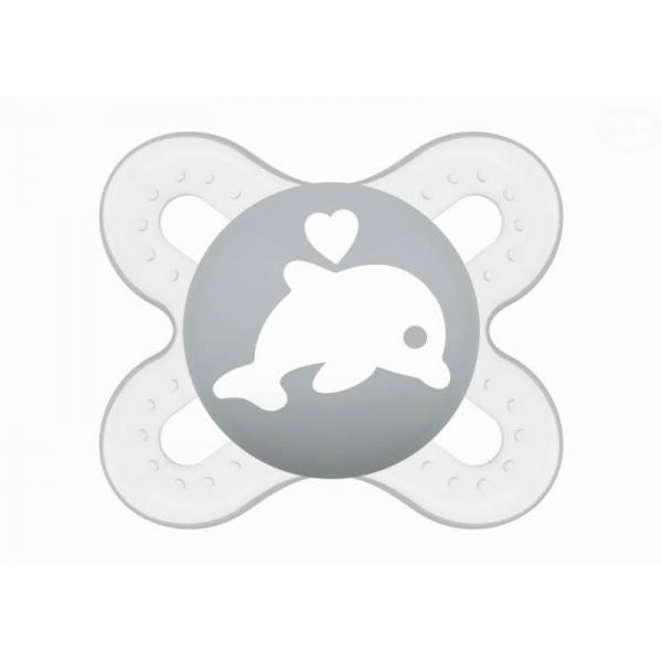 Symetrický dudlík Mam Start - Delfín, šedý