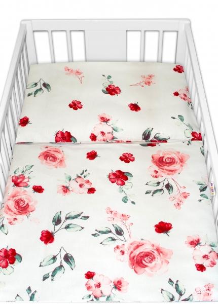Baby Nellys Flanelové povlečení Evelína - Květinky růžové, 135x100
