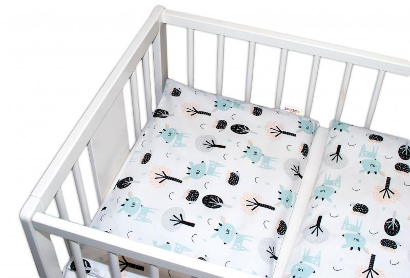 Baby Nellys 3-dílná sada Mantinel s povlečením - Srnečci, bílá, 135 x 100
