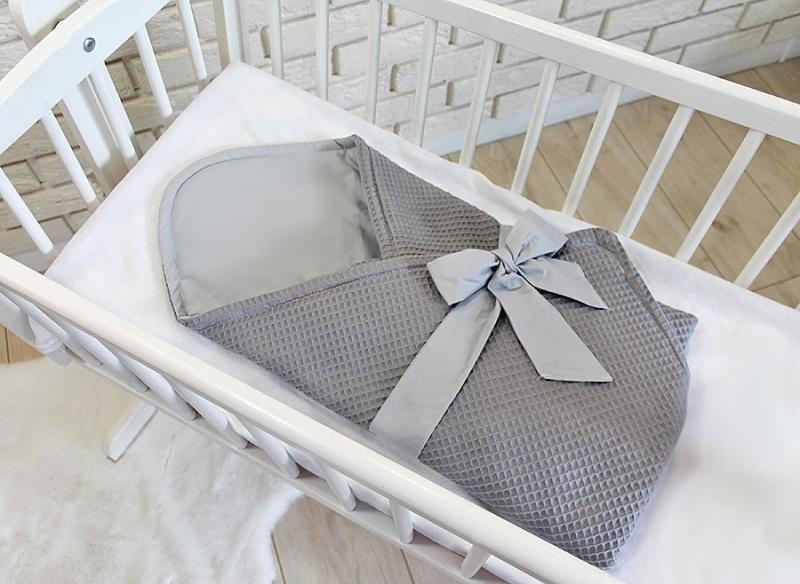 Baby Nellys Luxusní zavinovačka vaflová s mašlí 75 x 75cm - šedá