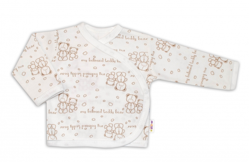 Baby Nellys Košilka pro předčasně narozené děti Baby Teddy, zap. bokem - Medvídci, vel. 50