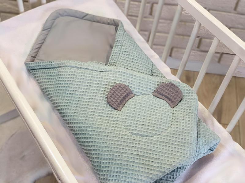 Baby Nellys Luxusní zavinovačka vaflová Medvídek - 75 x 75cm - tyrkys