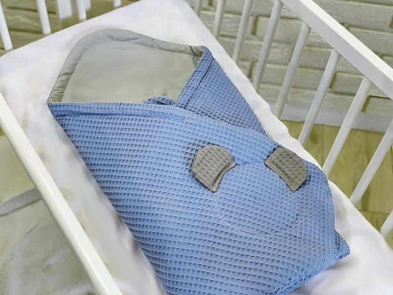 Baby Nellys Luxusní zavinovačka vaflová Medvídek - 75 x 75cm - modrá