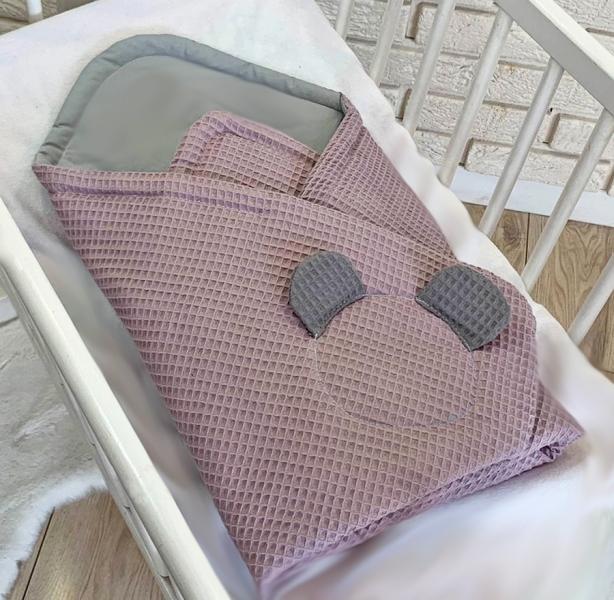 Baby Nellys Luxusní zavinovačka vaflová Medvídek - 75 x 75cm - růžová