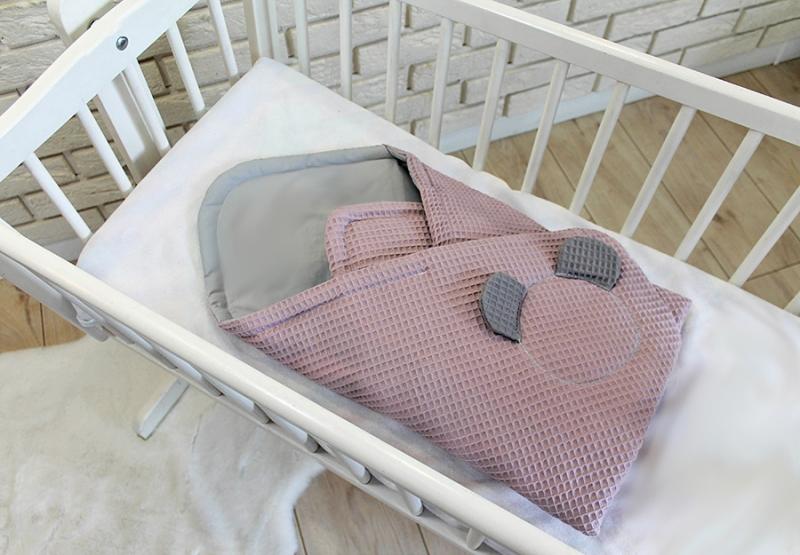 Baby Nellys Luxusní zavinovačka vaflová Medvídek - růžová